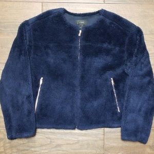 J. Crew Fleece Teddy Jacket Royal Blue S NWT